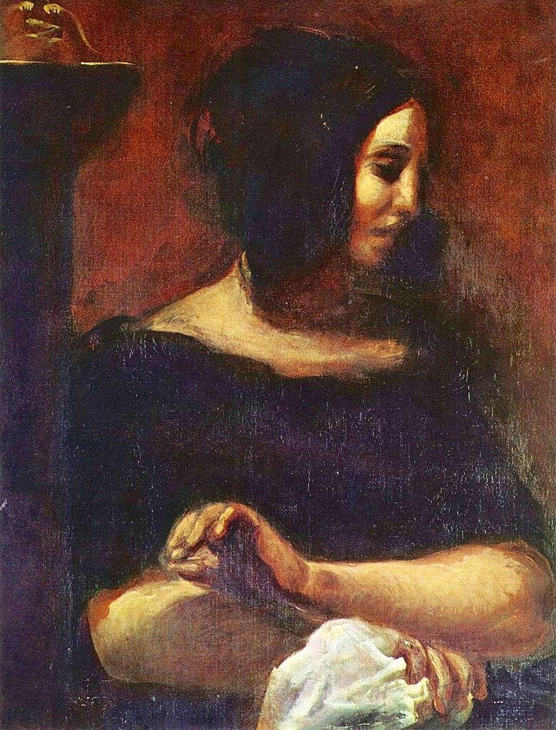 Imagen del retrato de George Sand por Eugene Delacroix
