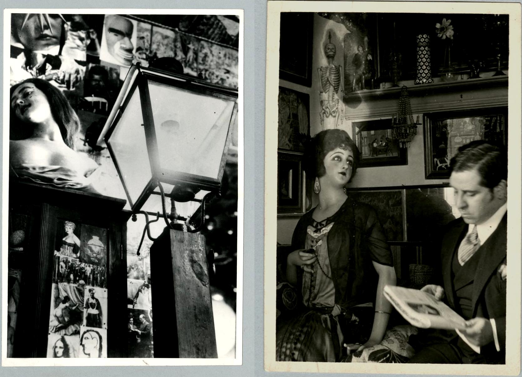 El farol y la muñeca de cera del estudio de Ramón en los años 20